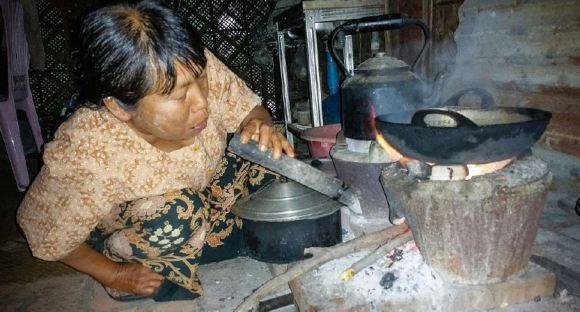 myanmar lighting a fire